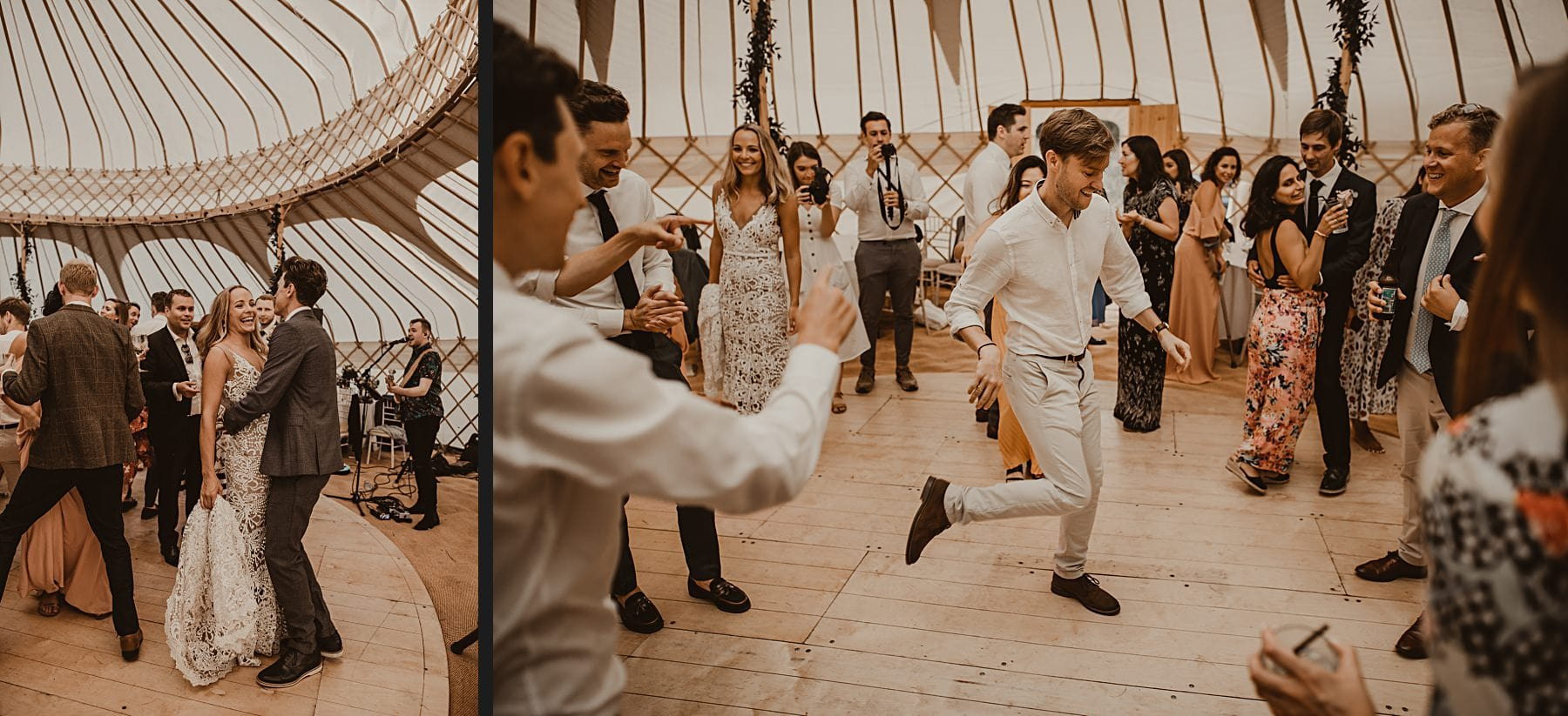 Guests dancing in front of band