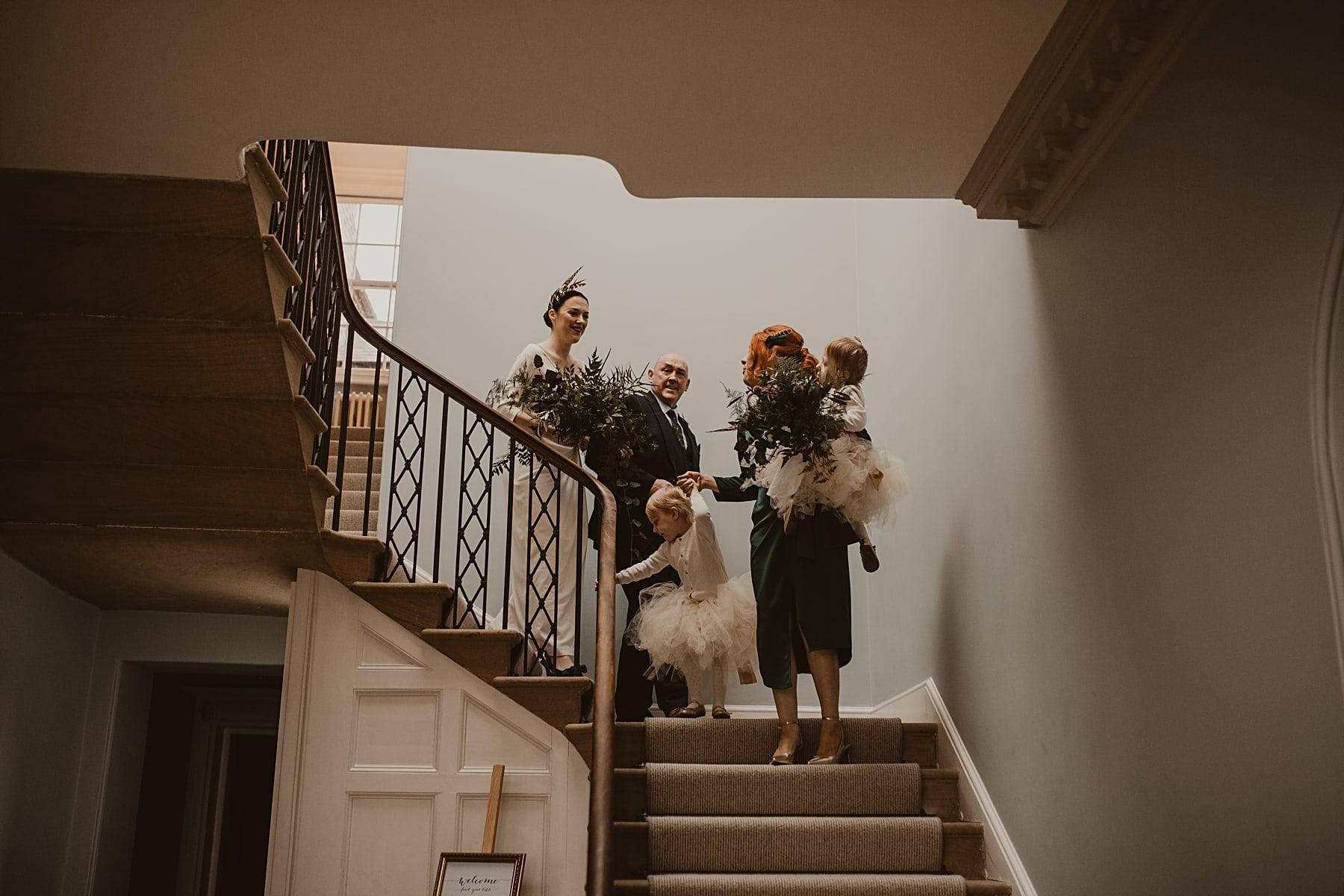 Wedding Guests Walking Downstairs