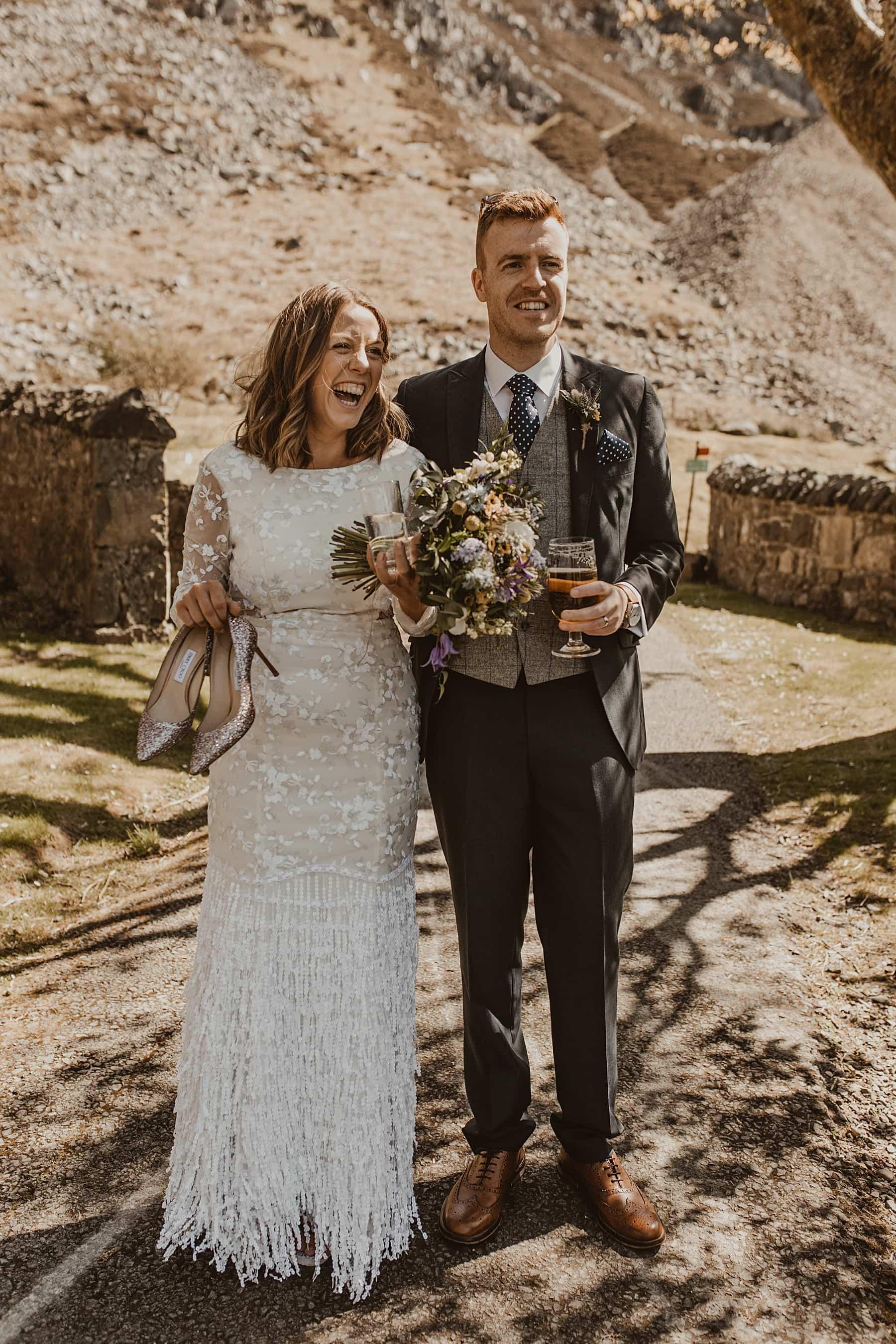 Bride and grooom laughing