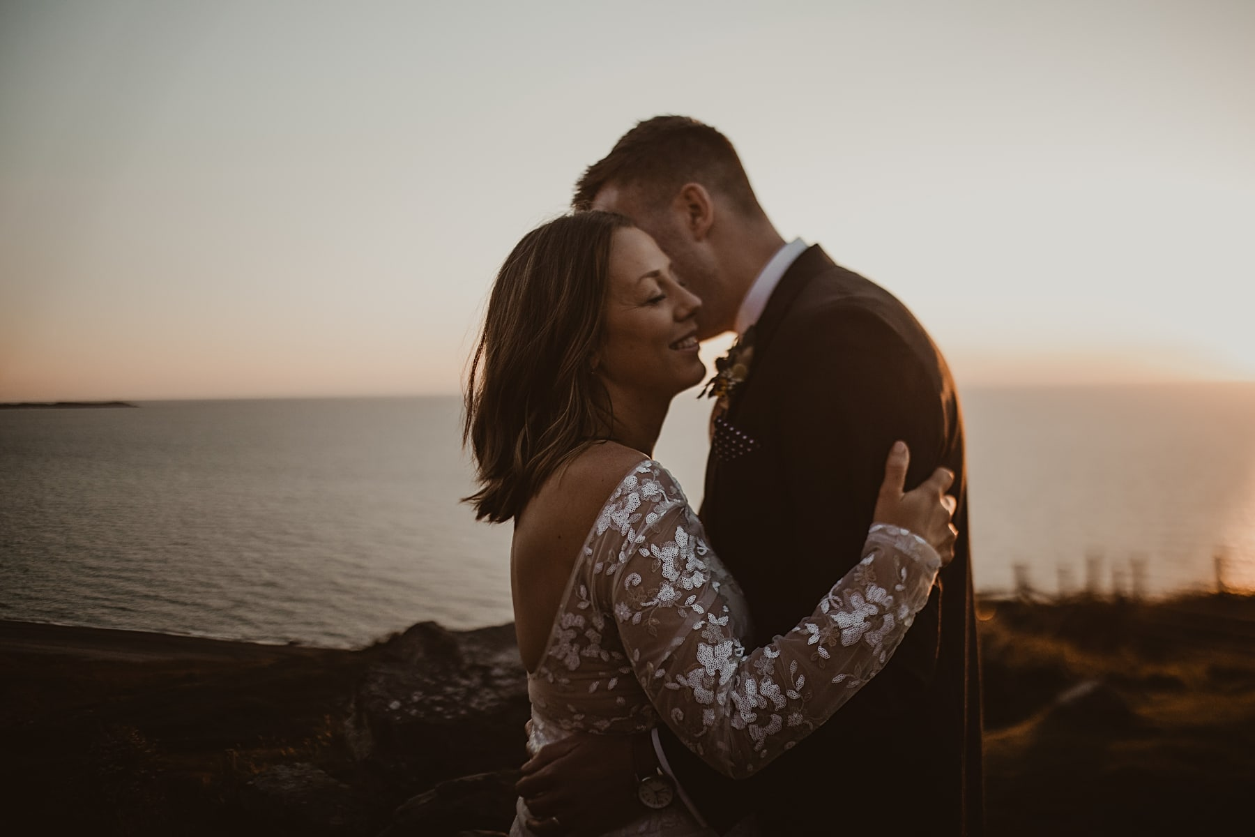 Sunset wedding portrait and Nant Gwrtheyrn