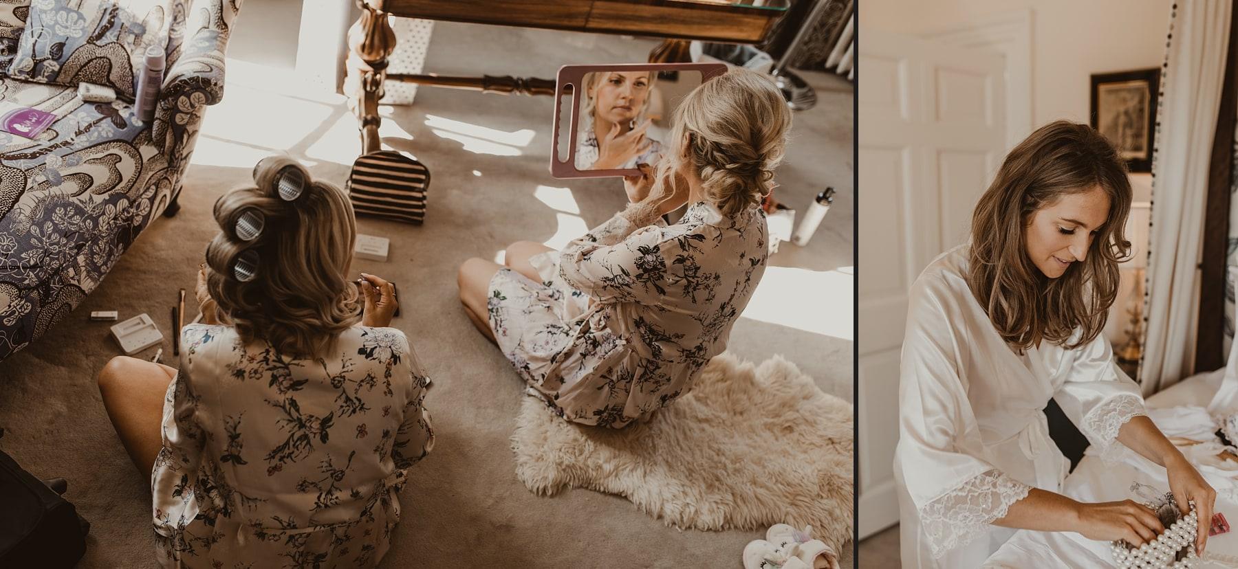Bridesmaid applying make up in mirror