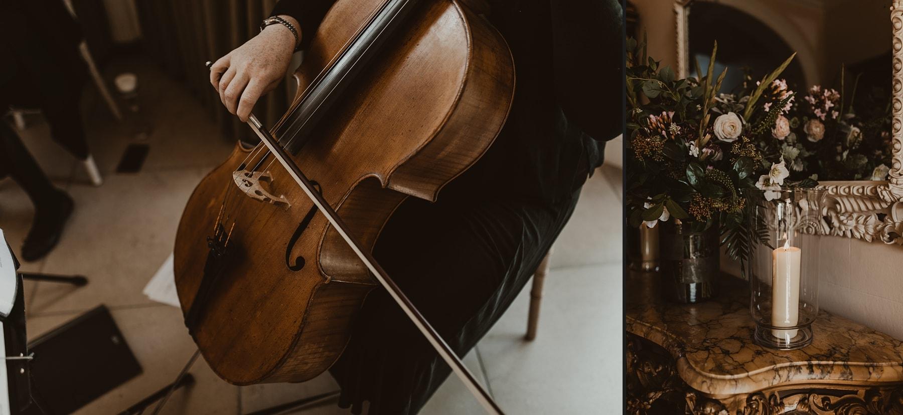 string quartet and floral arrangement