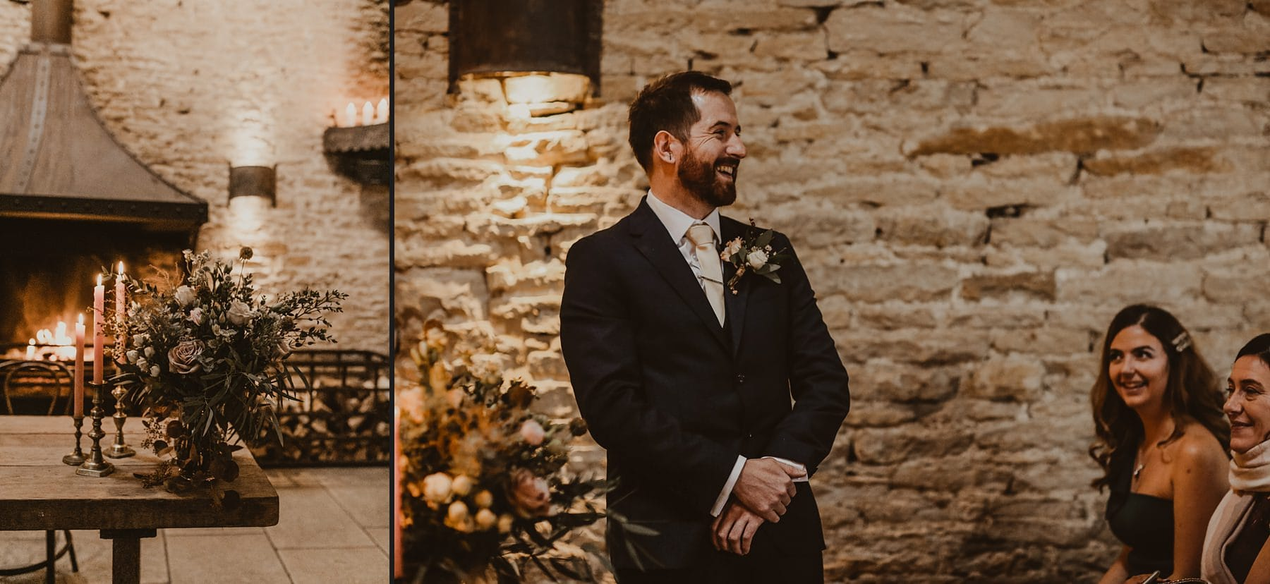 Groom waiting for bride at Stone Barn