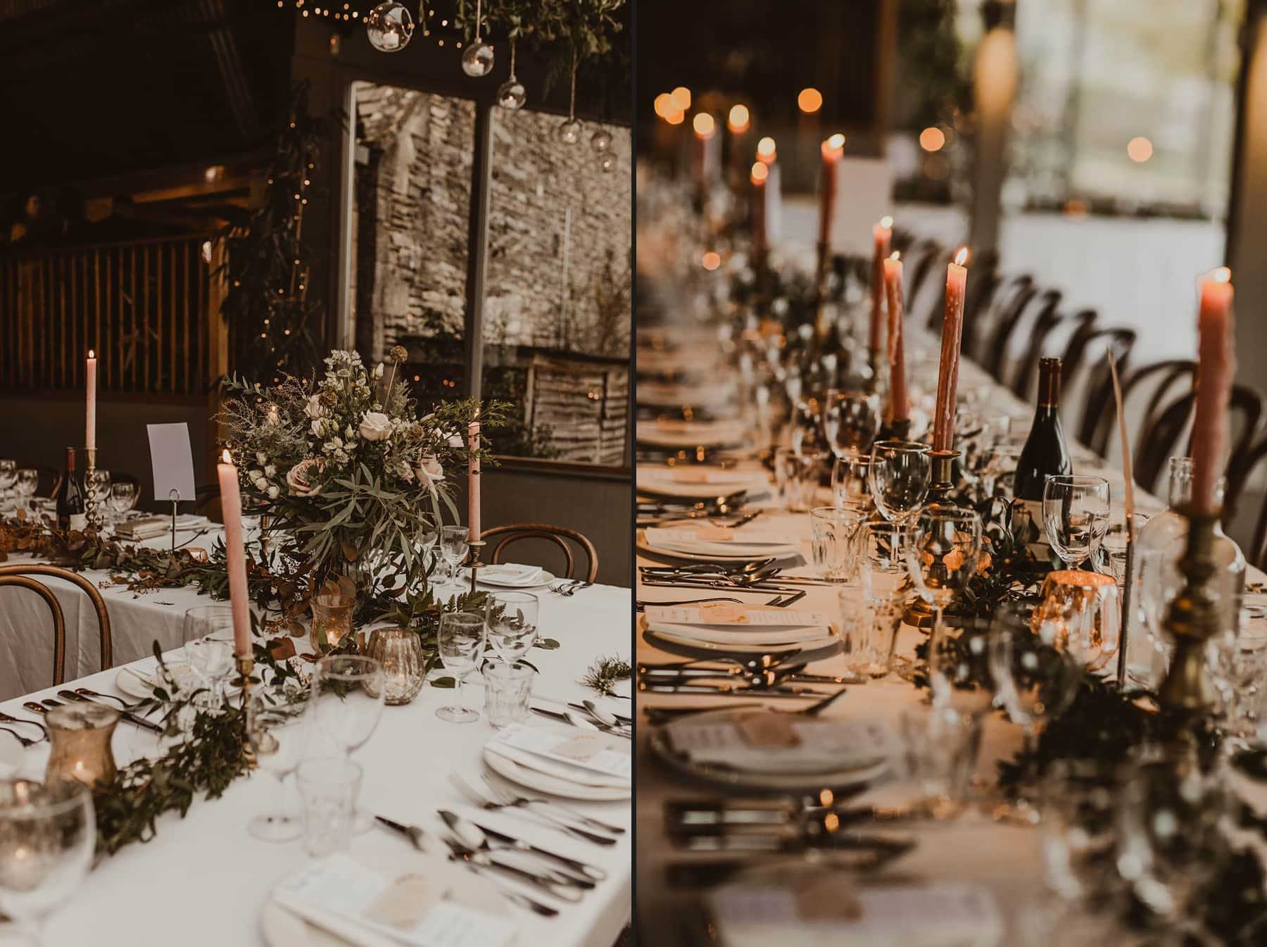 foliage tables cape at Stone Barn, Cripps wedding