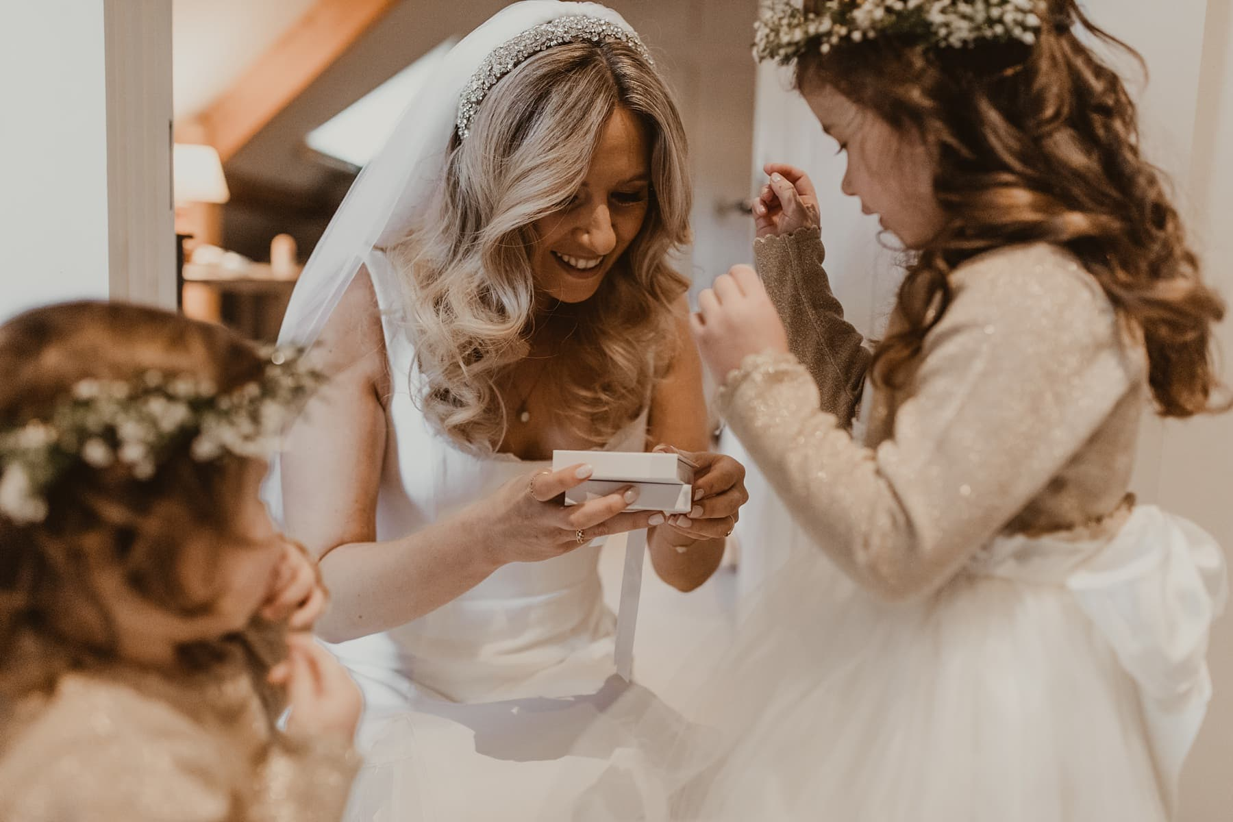 Bride with the flowers girls