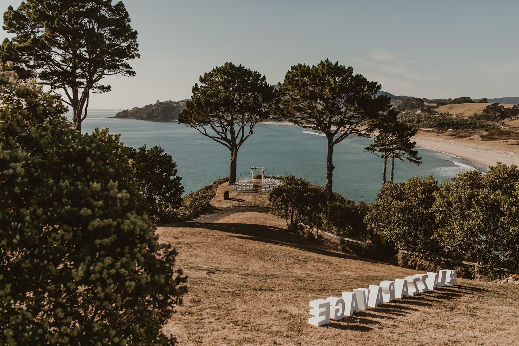 Clifftop ceremony set up