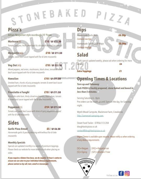 Doughtastic pizza menu