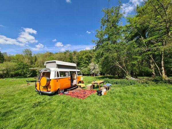 Orange VW camper van
