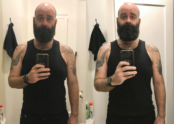 Left: Oct 30 2018, 187 lbs and Right: Nov 27 2018, 178 lbs