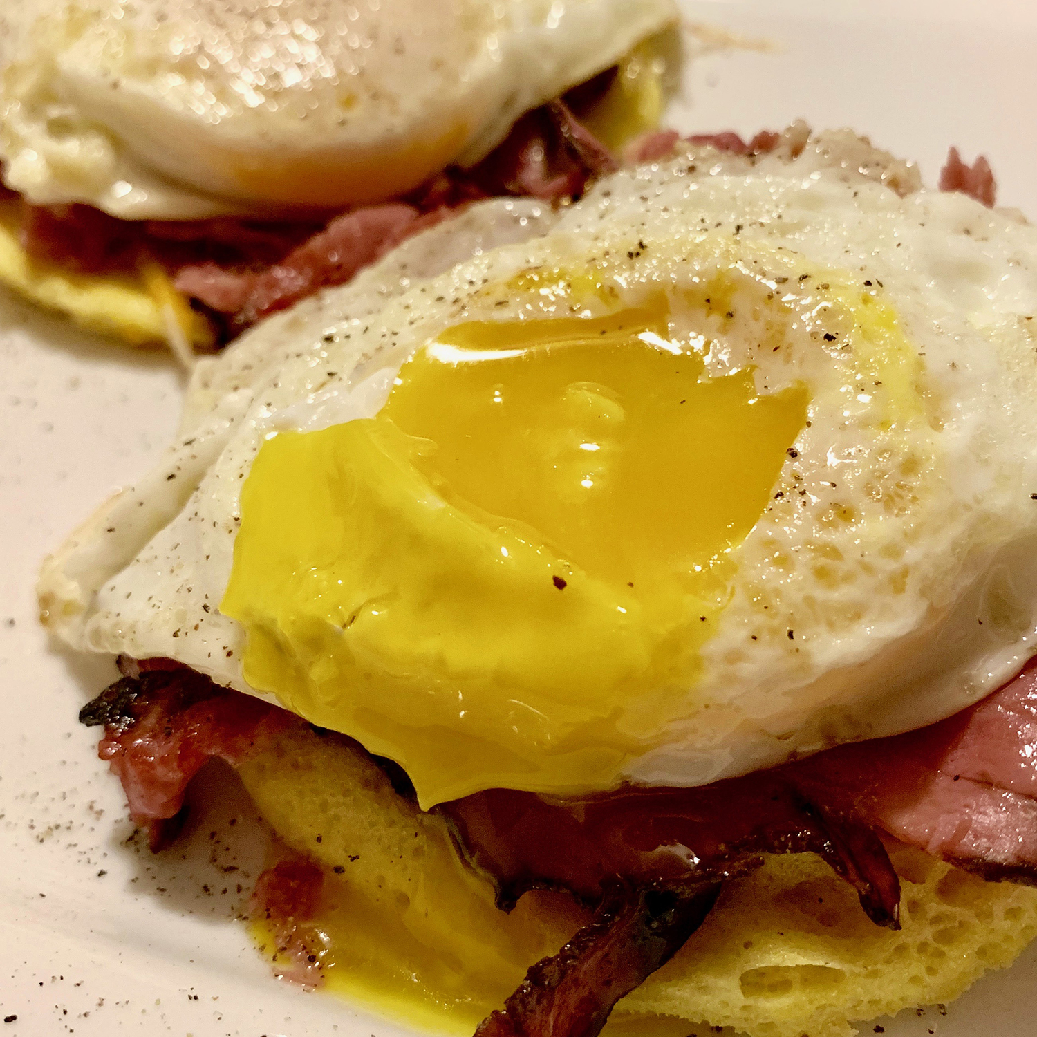 Fried Eggs with Montreal  Smoked Meat and Marble Cheddar on Microwave Keto Bread