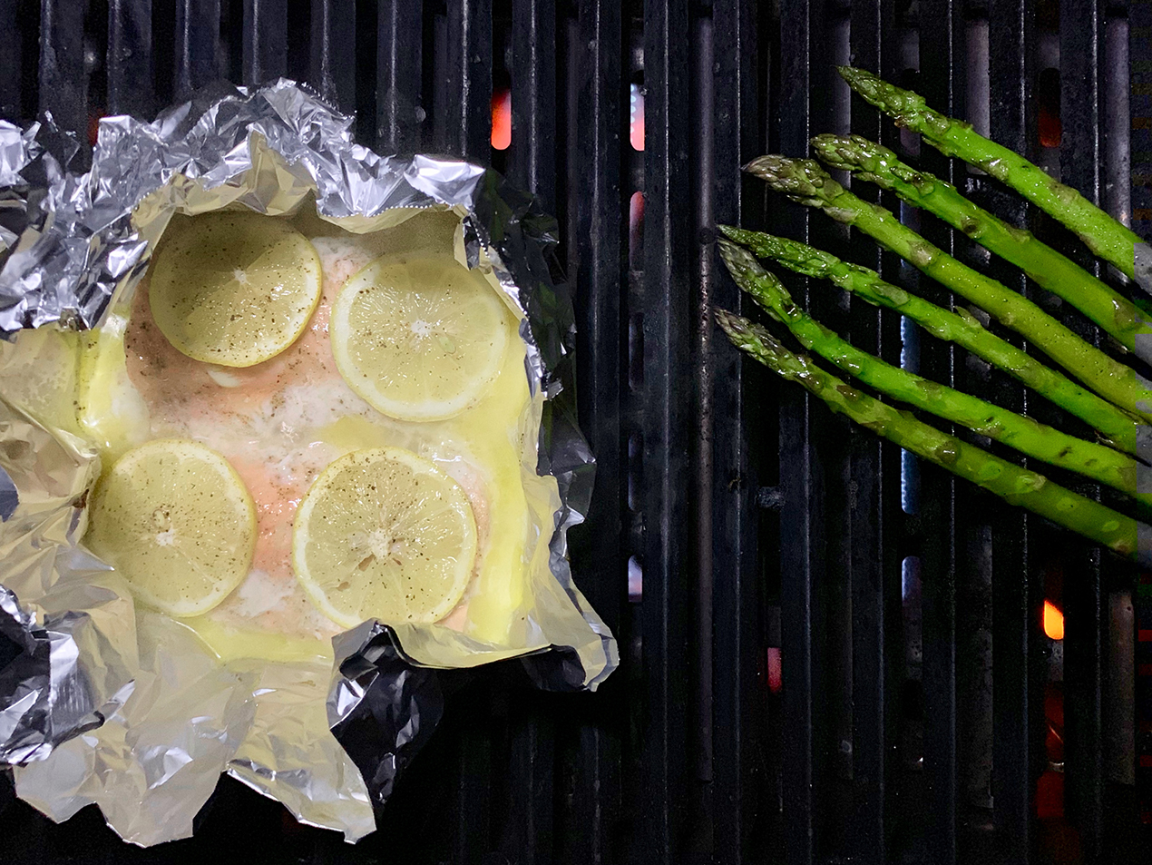 Salmon and Asparagus on the BBQ
