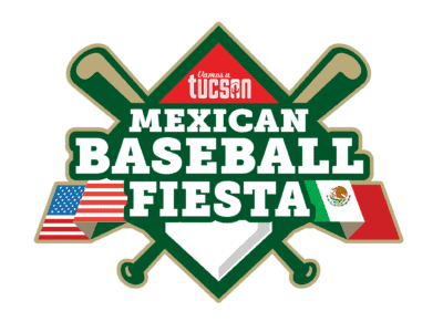 Mexican Baseball Fiesta logo with bats and flags