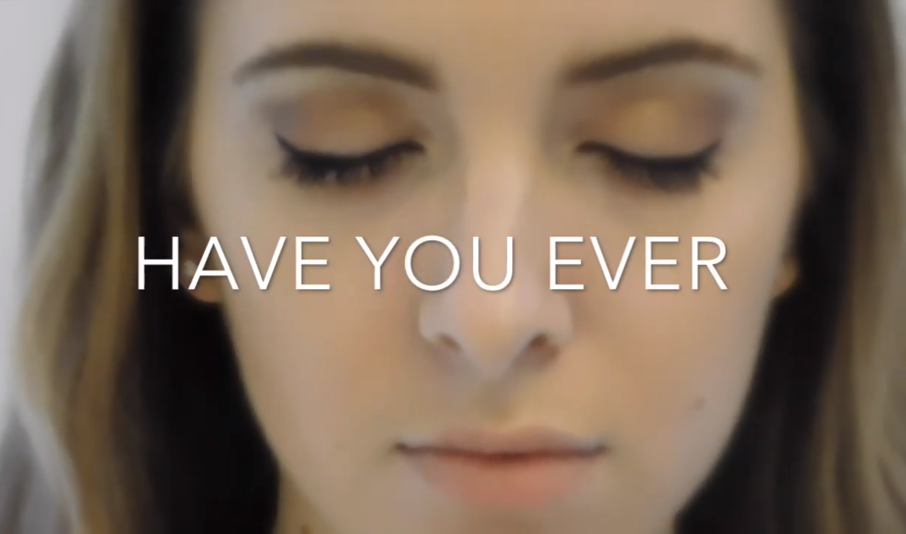 """Nishit Daswani screenshot from youtube video project: close-up on a woman with her eyes closed with a text overlay """"Have you ever"""""""