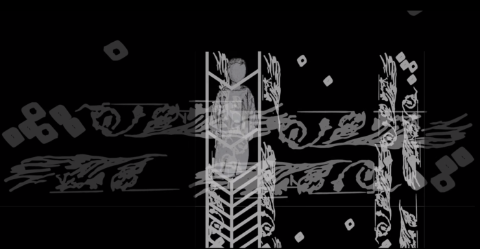 Nishit Daswani screenshot from youtube video project: white patterns on a black background