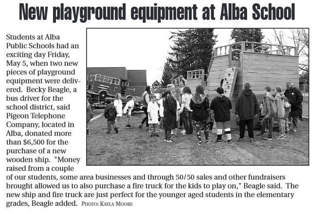 New playground equipment at Alba School