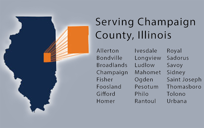 Listing of Cities that are apart of Champaign county.