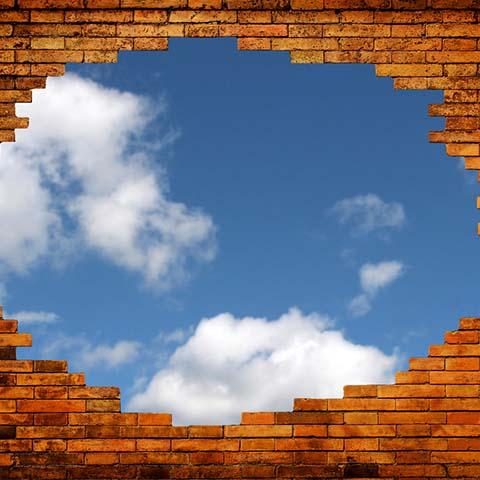 Brick Wall wClouds