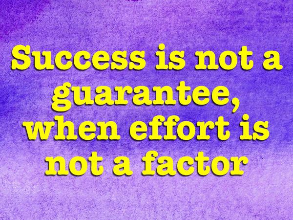 Success is not a guarantee, when effort is not a factor