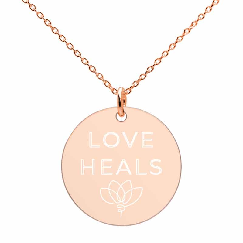 Closeup of Love Heals Necklace Rose Gold