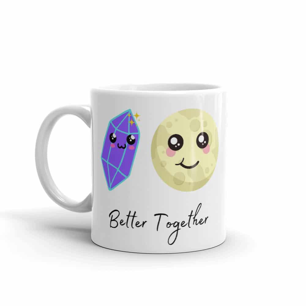 11 ounce mug with purple crystal and full moon with Kawaii smiles.