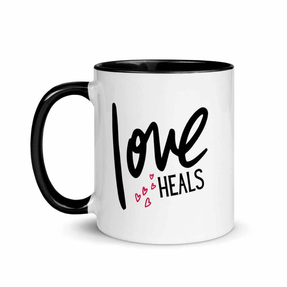 Love Heals Mug with Pink Hearts