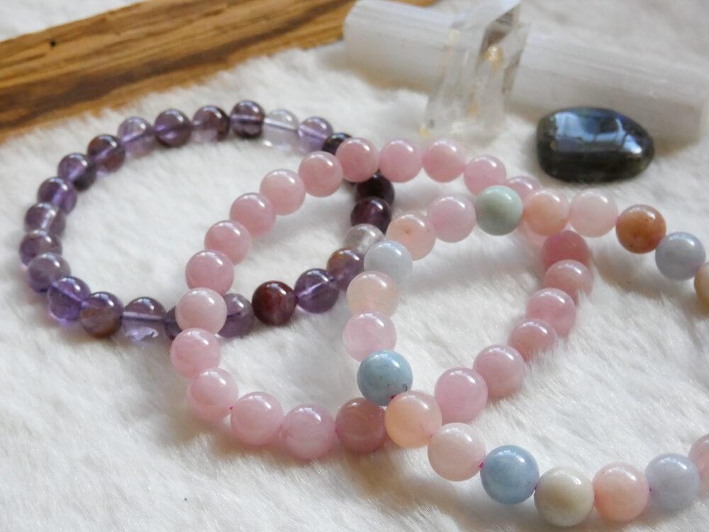 Amethyst, Rose Quartz and Morganite Bracelet