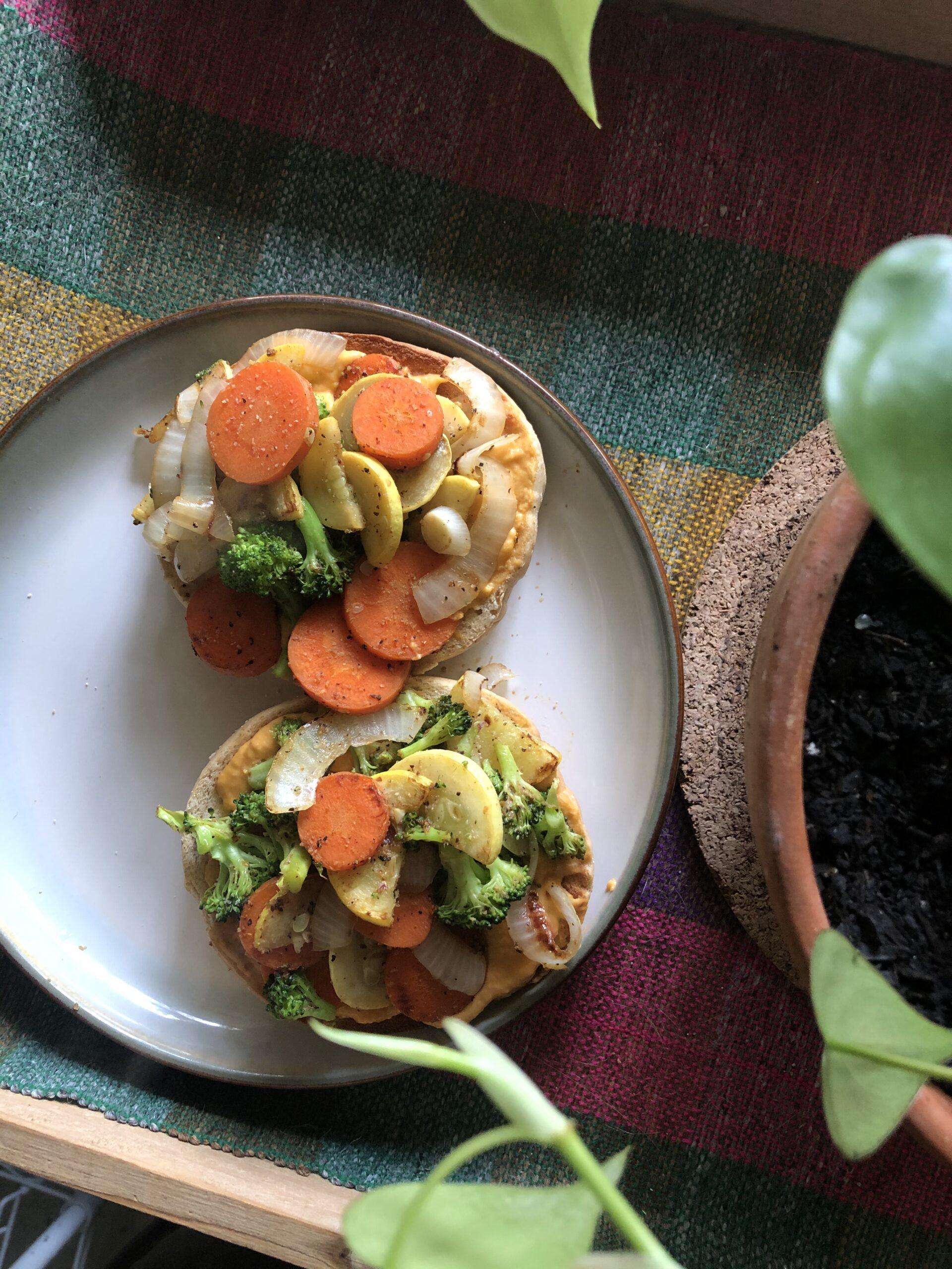 Hummus & Veggie Breakfast Bagel
