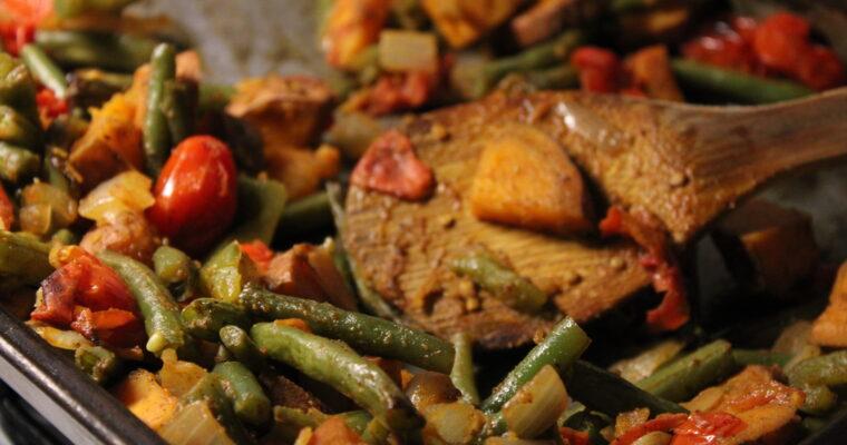 Roasted Green Beans & Sweet Potatoes