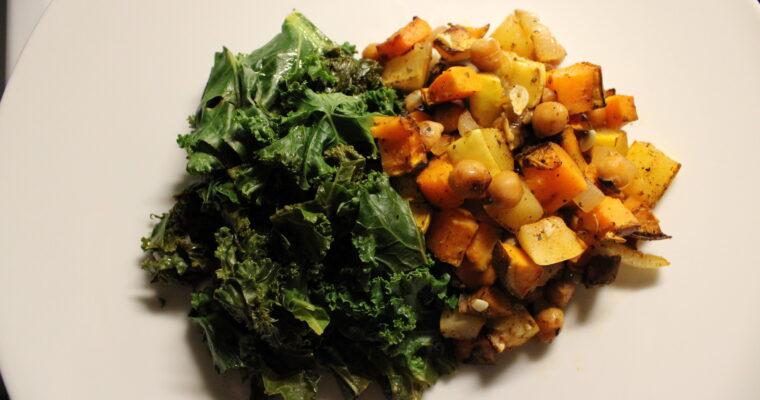 Braised Kale & Roasted Sweet Potatoes