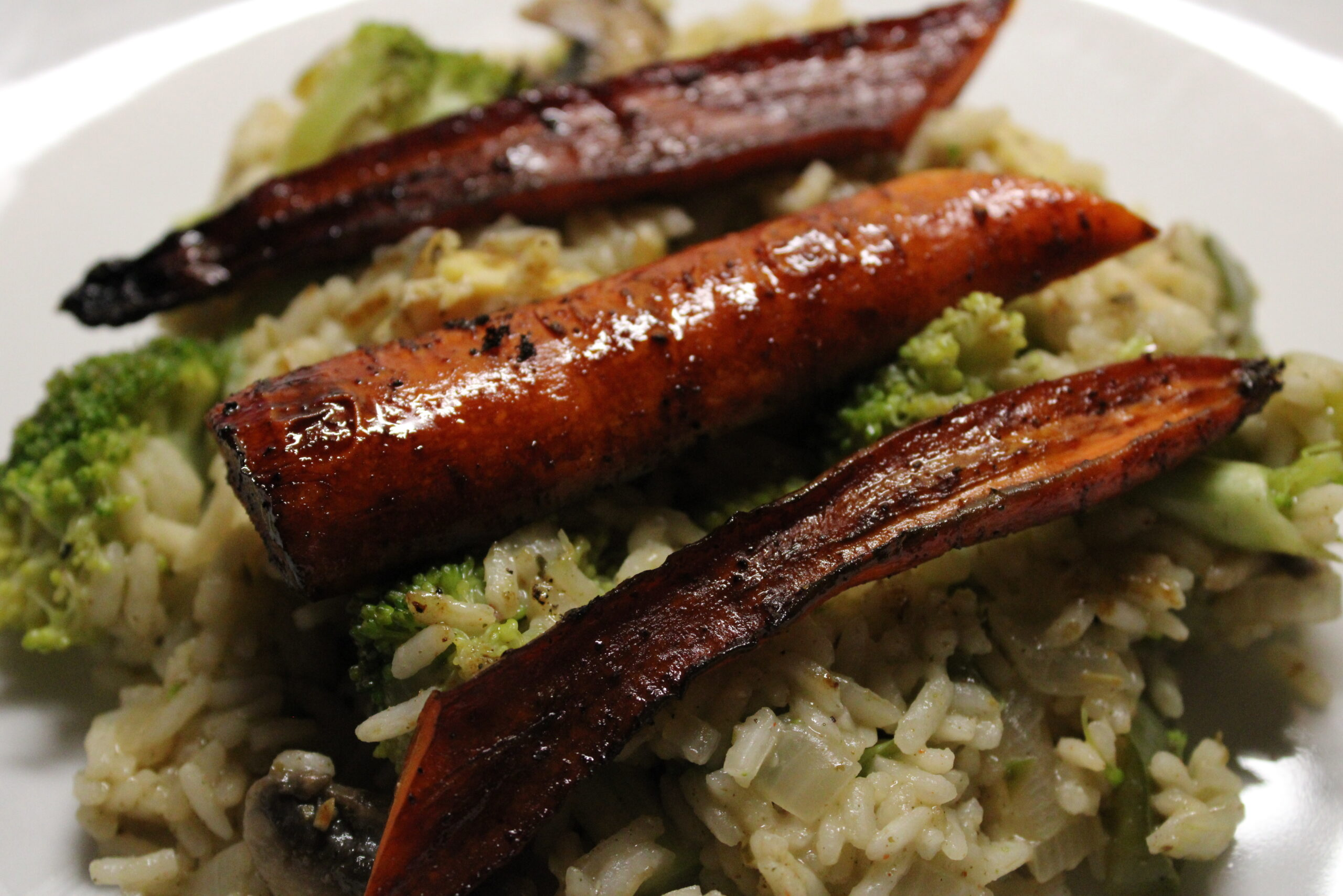 Balsamic-Honey Roasted Carrots & Vegetable Rice Pilaf