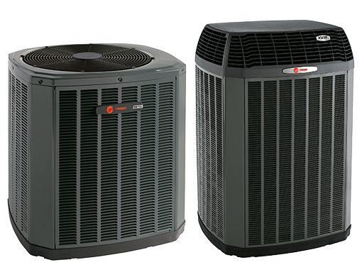 two Trane outdoor air conditioning condenser units