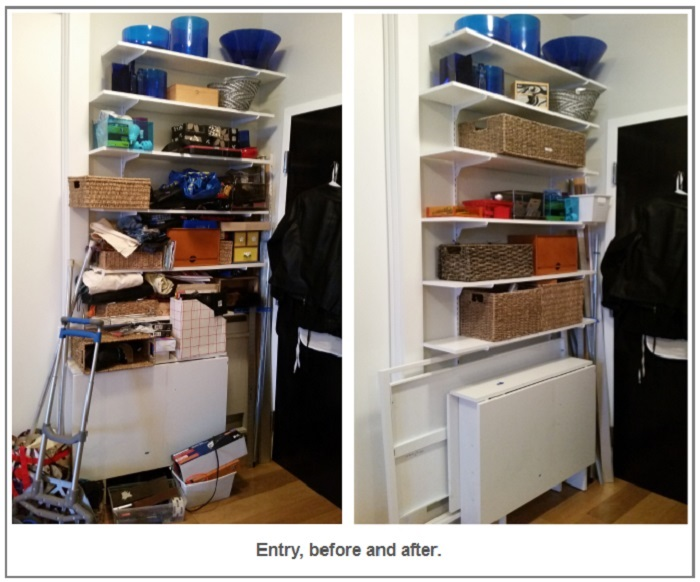 entry, before and after organizing by Alison Lush