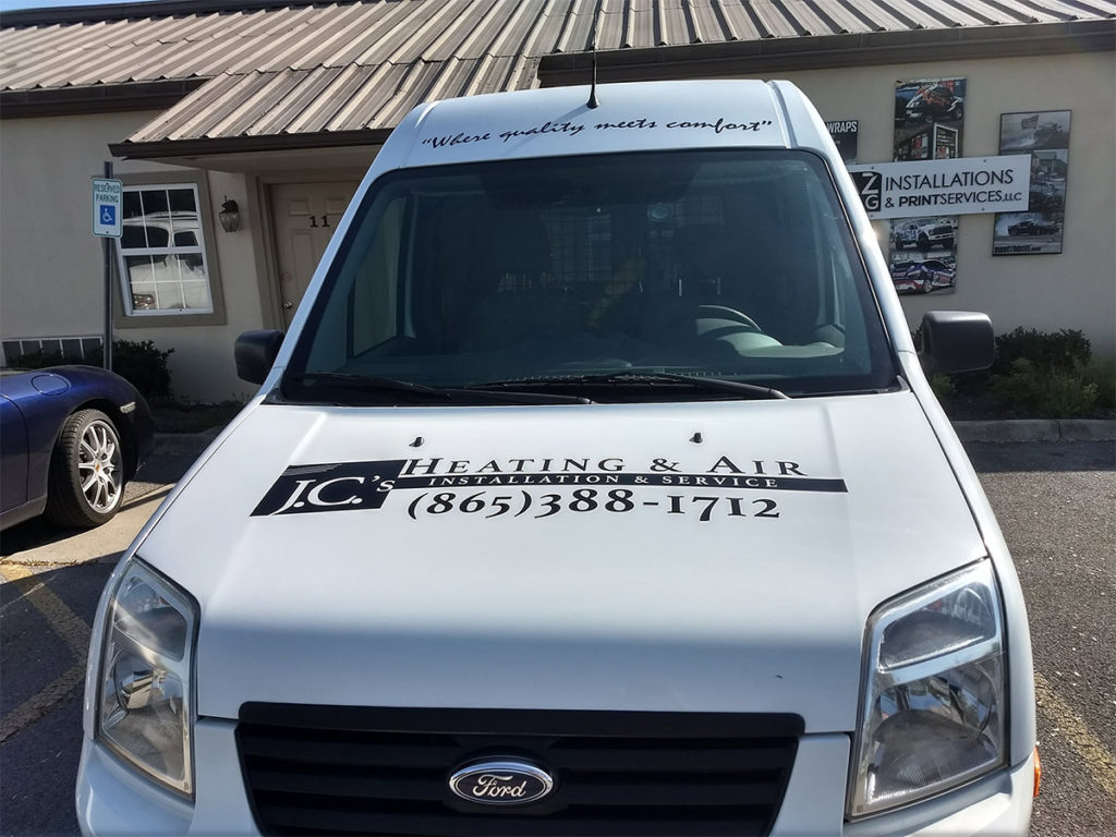 JC's Heating and Air front of service van