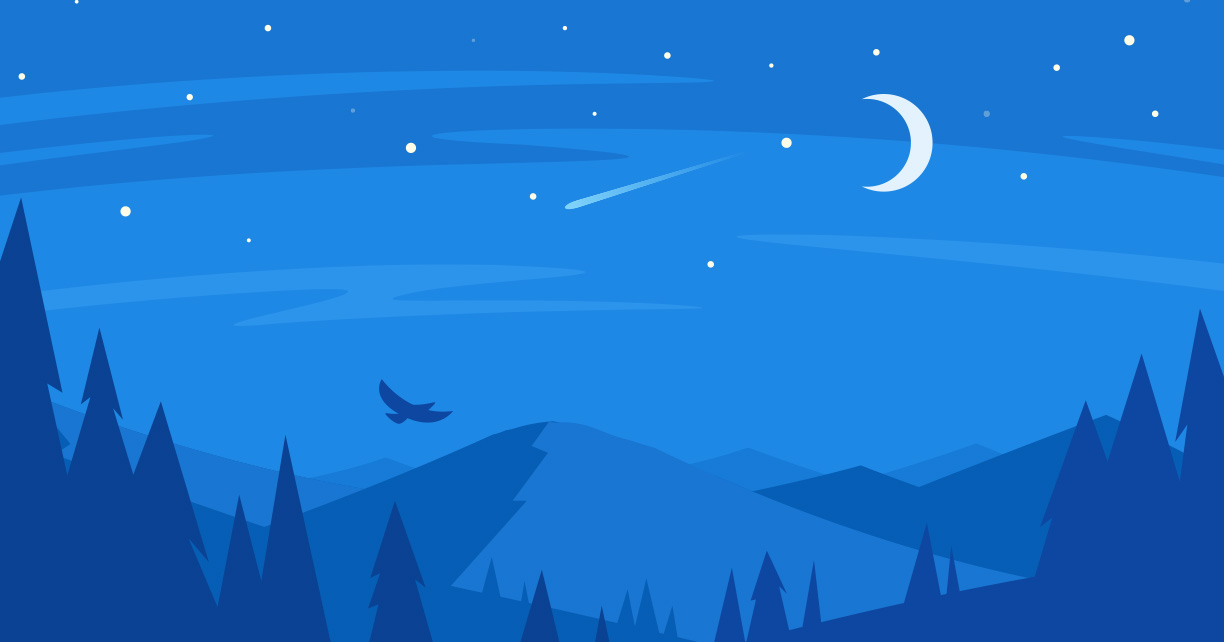 illustration of night sky with moon and bird flying above trees