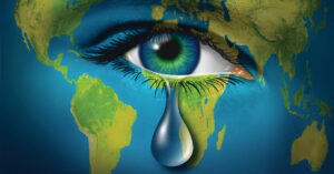 world map graphic with eye crying
