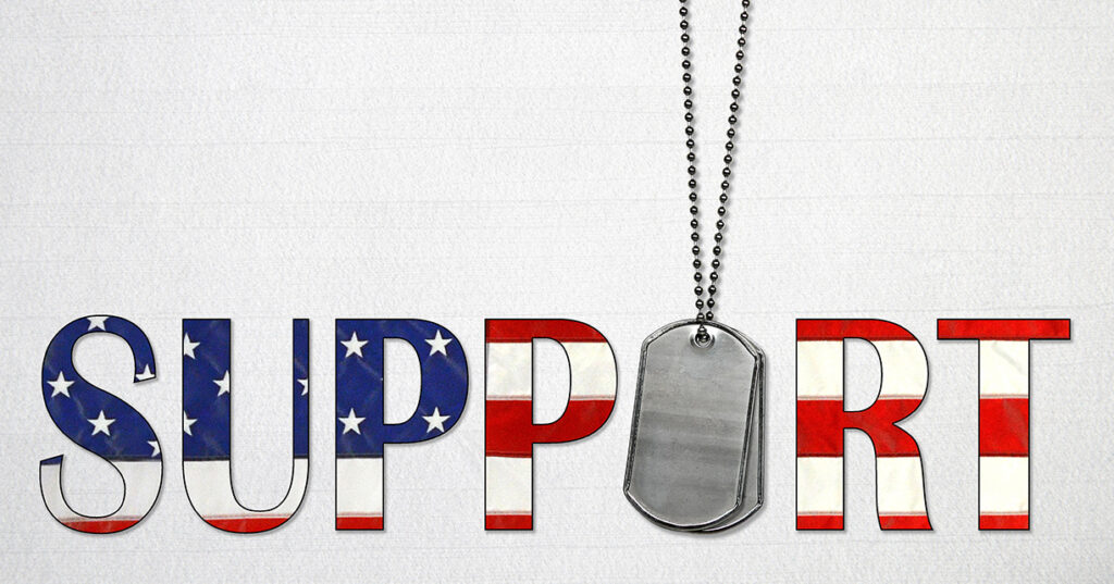 illustration of the word support with the american flag colors and dog tags