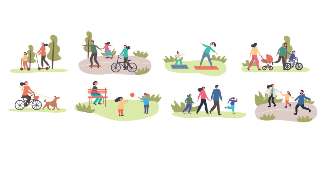 Set of eight different family activities in spring with children and parents, riding bicycles, using scooters, exercising, walking in park, walking dog, playing in groups, colored vector illustration