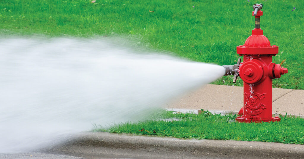 Fire Hydrant being drained for cleaning