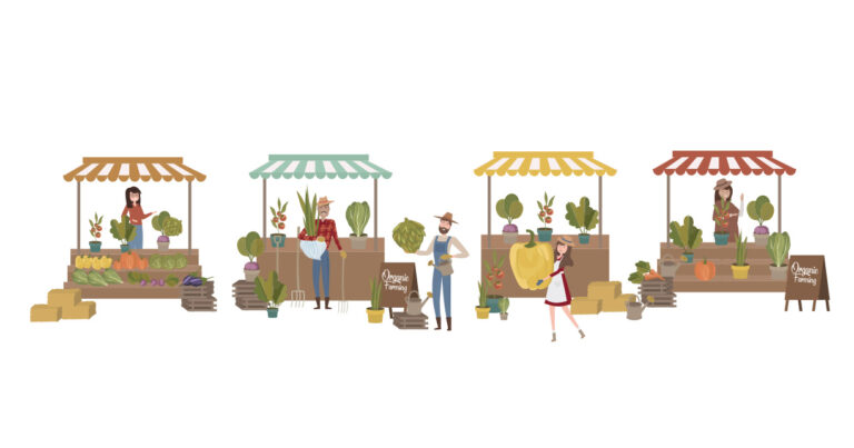 Farmer's market poster with people selling and shopping at walking street, organic fruits and vegetables, cartoon flat design.