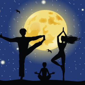 vector moon with 3 silhouettes in yoga positions