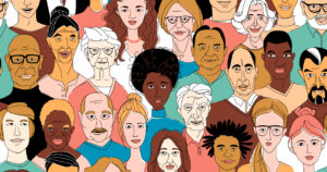A large set of faces of young people of different nationalities. Seamless drawn creative pattern.