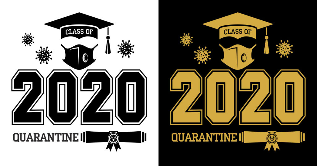Class of 2020 during quarantine - lettering for greeting, invitation card. Text for graduation design, greetings, t-shirts, party, high school or college graduates. Illustration, vector