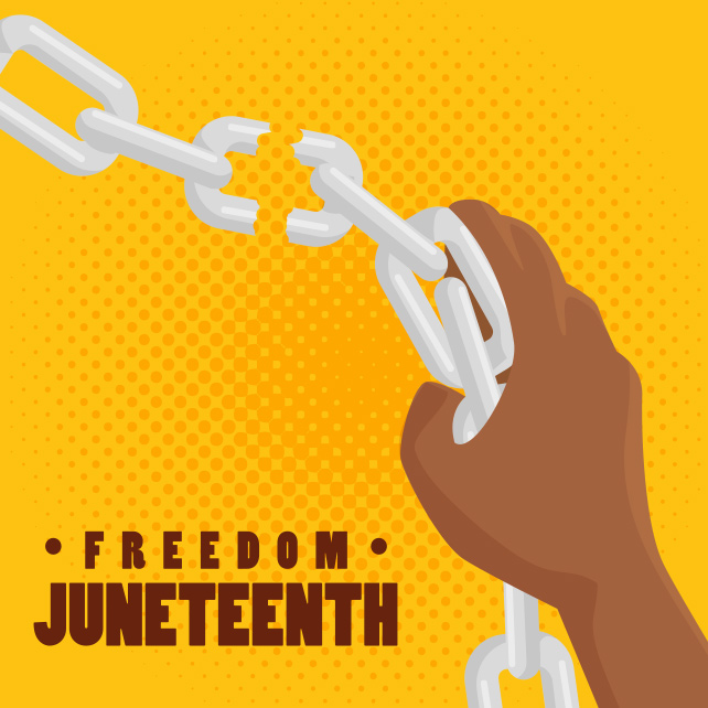 afro american persons hand breaking a chain and juneteenth sign over yellow background. Vector illustration