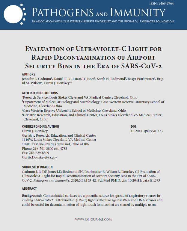 uvc disinfection of airport security bins