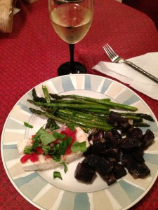 Poached Halibut, Roasted Purple Potatoes and Asparagus