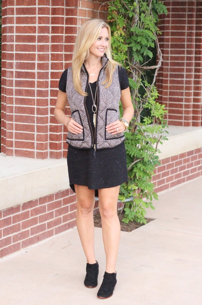 Must Have Fall Shift Dress and Fringe Tote