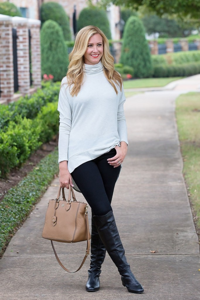 Turtleneck and knee high boots