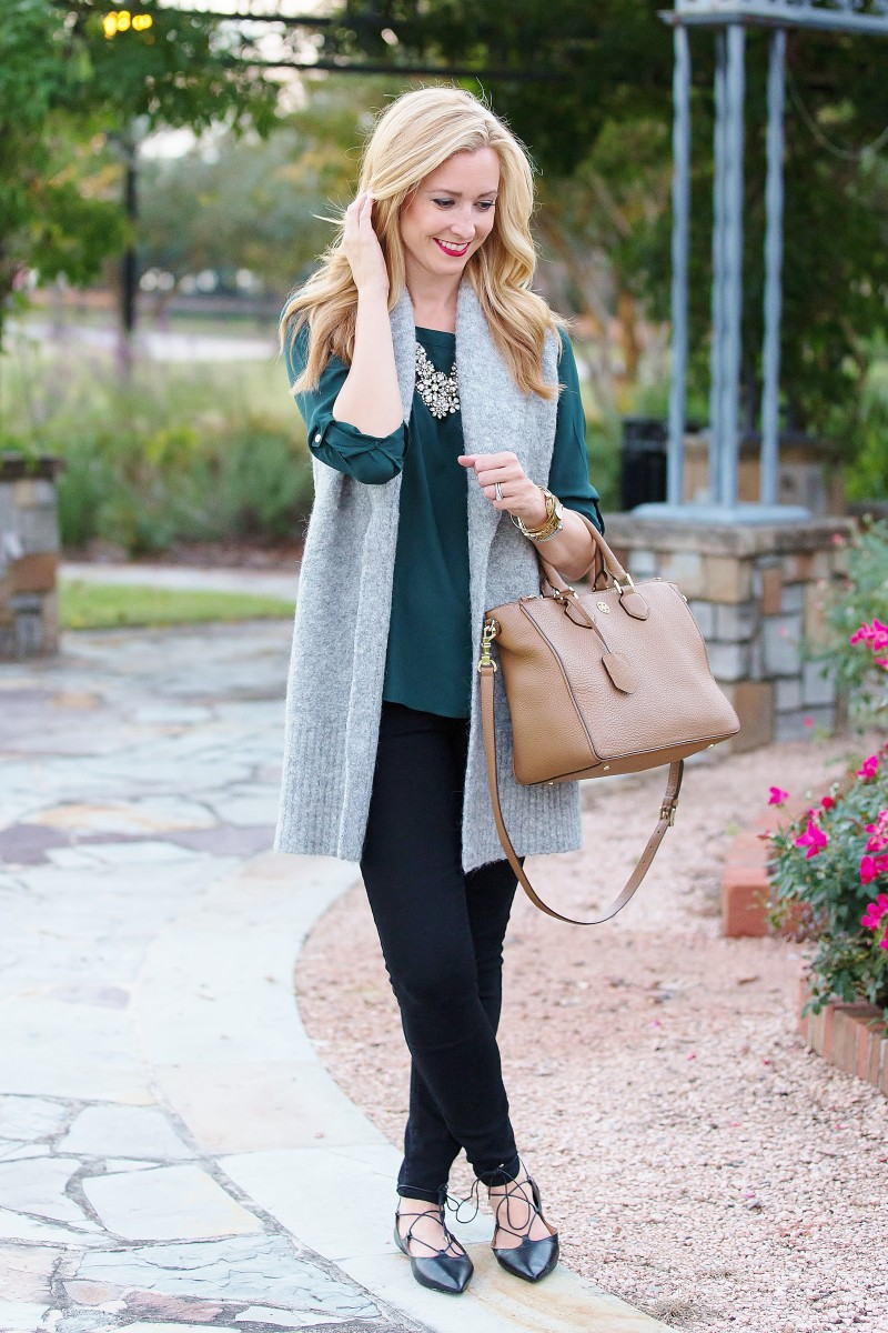 Emerald Blouse and Long Vest