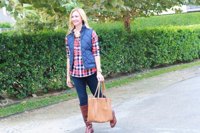 Plaid shirt with puffer vest