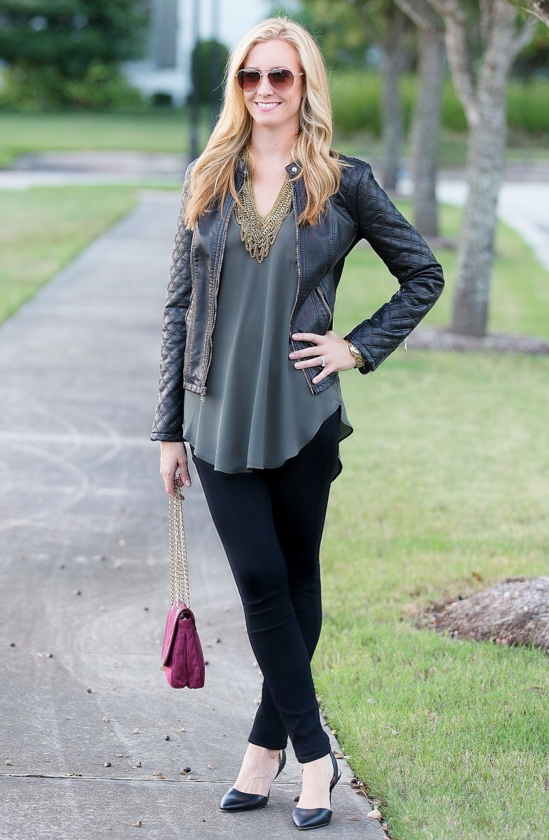 Olive Tunic and Moto Jacket